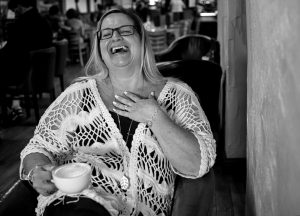 Things about Erika... black and white image of Erika happy and laughing