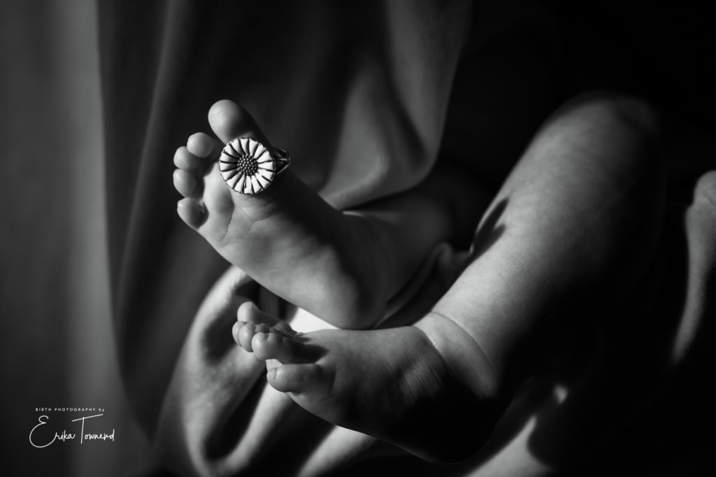 Georg Jensen jewellery black and white image of babies toes
